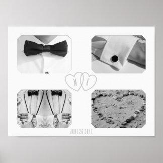 Tuxedo Wedding Personalized Hearts Upload 4 Photos Poster
