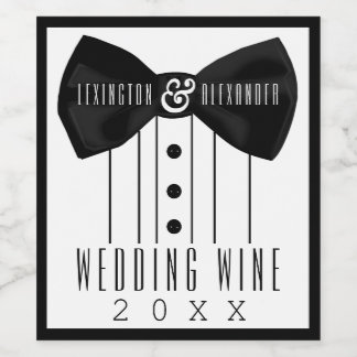 Tuxedo Wedding Wine Bottle Label