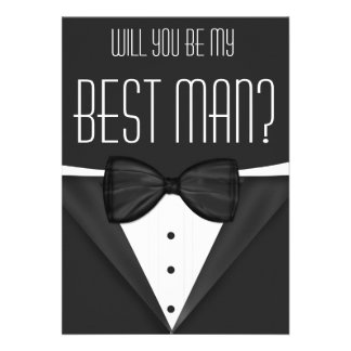 Tuxedo Will You Be My Best Man Wedding Invites