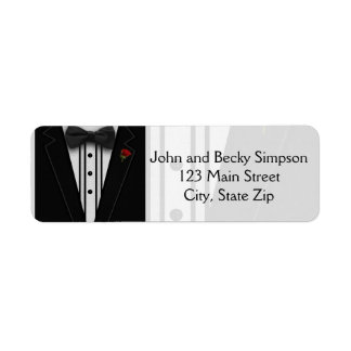 Tuxedo with Bow Tie Monogram Return Address Label