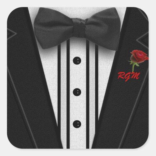 Tuxedo with Bow Tie Monogram Square Sticker