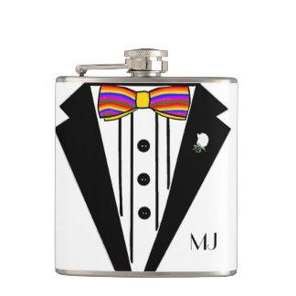 Tuxedo With Rainbow Bow Tie Wedding Flasks