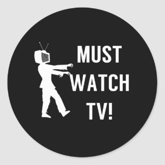 TV Addict Funny Zombie Classic Round Sticker