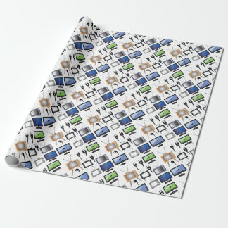 tv icons wrapping paper