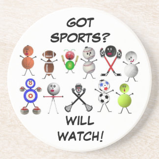 TV Sports Fanatic Drink Coasters