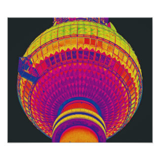 Tv Tower (Fernsehturm), Berlin, Rainbow Colour (tv Poster