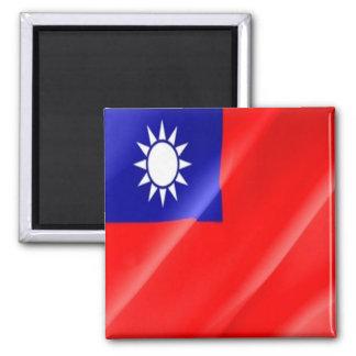TW - Taiwan Formosa - Flag Waving Square Magnet