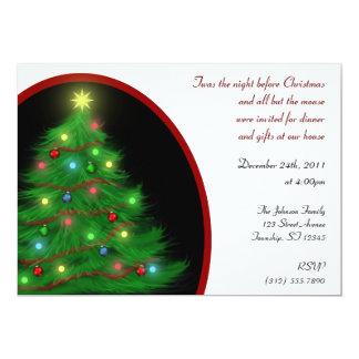 """Twas the Night"" Christmas (Eve) Tree Invitations 5"" X 7"" Invitation Card"