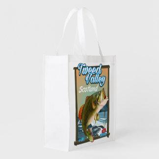 Tweed Valley Scotland Fishing poster Reusable Grocery Bag