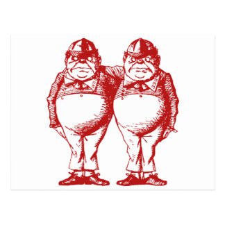 Tweedle Dee and Tweedle Dum Inked Red Postcard
