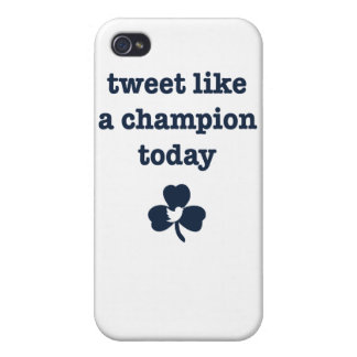 Tweet Champion iPhone4 white/navy logo small iPhone 4/4S Cover