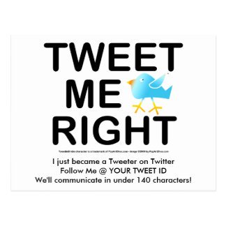 Tweet Me Right WHT2228 Postcard