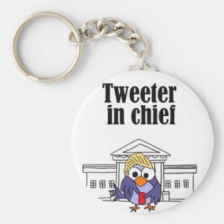 Tweeter in chief Trump Basic Round Button Keychain
