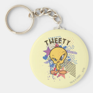 Tweety Angry 2 Basic Round Button Keychain