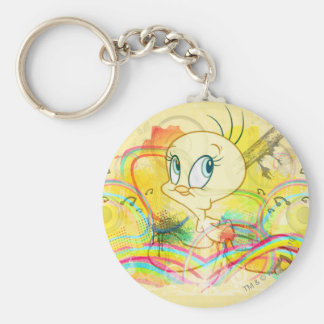 Tweety In Rainbows Basic Round Button Keychain