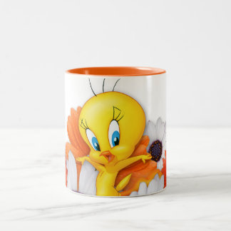 Tweety With Daisies Two-Tone Coffee Mug