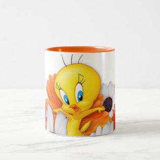 Tweety With Daisies Two-Tone Coffee Mug