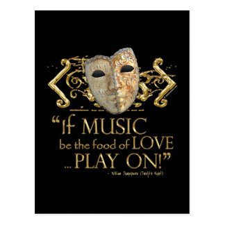 Twelfth Night Music Quote (Gold Version) Postcard
