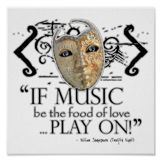 Twelfth Night Music Quote Poster