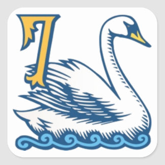 Twelve Days of Christmas - Seven Swans a-Swimming Square Sticker