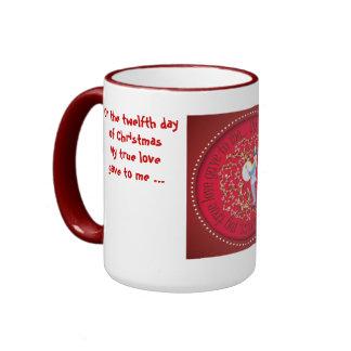 Twelve drummers drumming ringer coffee mug
