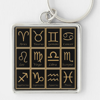 Twelve Gold Zodiac Signs Premium Keychain