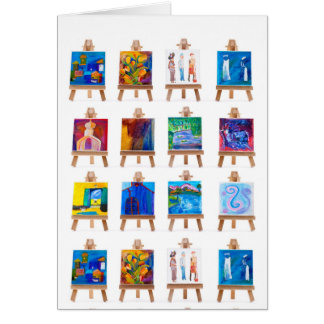 Twelve mini paintings on easels card
