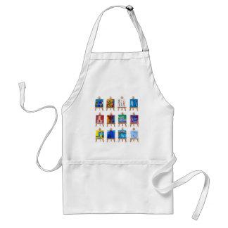 Twelve mini paintings on easels isolated on white standard apron