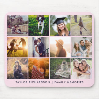 Twelve Photo Collage | Trendy Blush Pink Mouse Pad