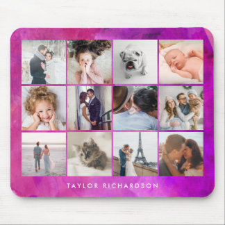 Twelve Photo Collage | Watercolor Magenta Mouse Pad