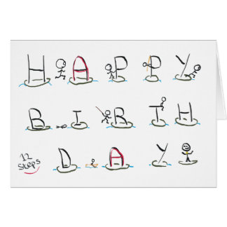 Twelve Steps Happy Birthday Card