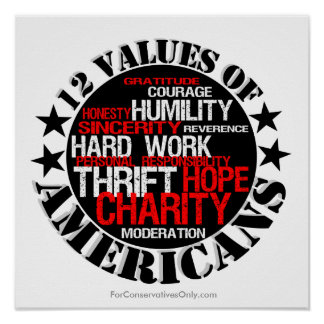 Twelve Values of Americans Poster