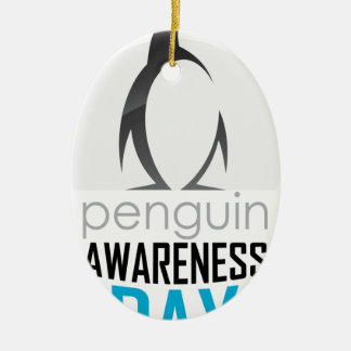 Twentieth January - Penguin Awareness Day Ceramic Oval Ornament