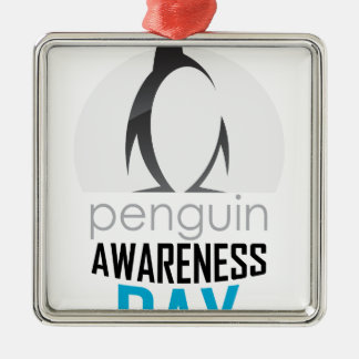 Twentieth January - Penguin Awareness Day Silver-Colored Square Ornament