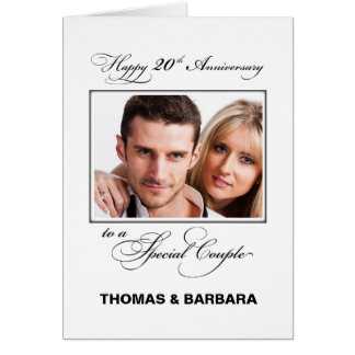 Twentieth Wedding Anniversary Custom Name & Photo Card