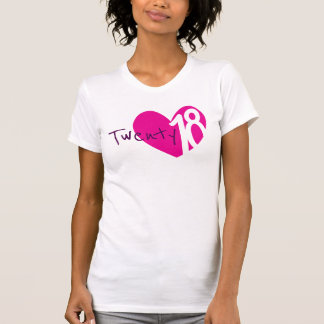 Twenty 18 love pink heart 2018 ladies t-shirt