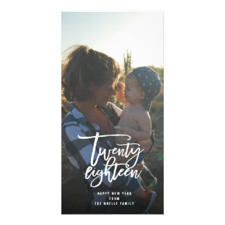 Twenty Eighteen Brush Script New Year Photo Card