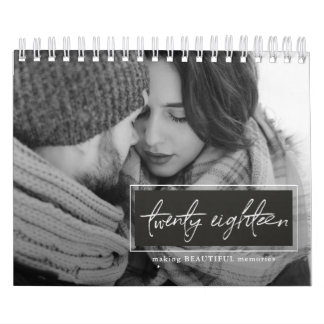 Twenty Eighteen Script Black and White Photo Wall Calendars