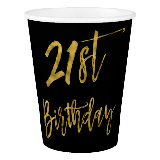 Twenty First Birthday Gold Foil Paper Cup