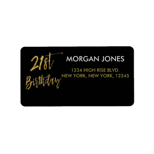 Twenty First Gold Foil Birthday Address Label