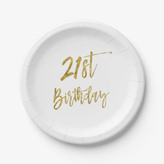 Twenty First Gold Foil Birthday Paper Plate