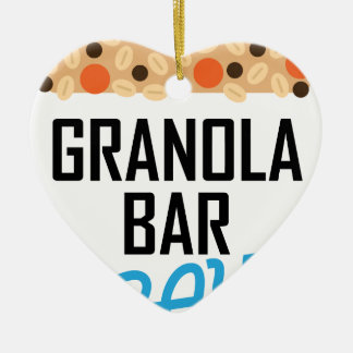 Twenty-first January - Granola Bar Day Ceramic Heart Ornament