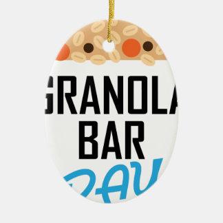 Twenty-first January - Granola Bar Day Ceramic Oval Ornament