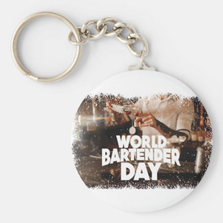 Twenty-fourth February - World Bartender Day Basic Round Button Keychain