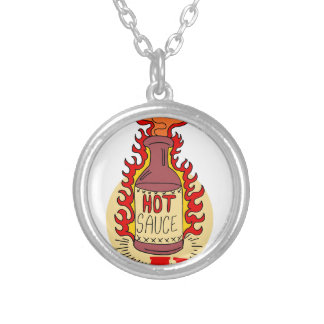 Twenty-second January - Hot Sauce Day Silver Plated Necklace