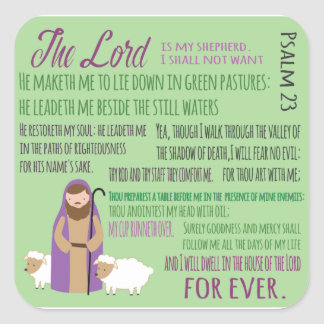 Twenty Third Psalm Square Sticker
