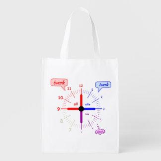 twerk all night long reusable grocery bag