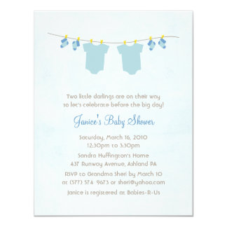 "Twice As Nice Baby Boy Shower Invitations 4.25"" X 5.5"" Invitation Card"