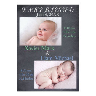 Twice Blessed Twin Boys - Birth Announcement