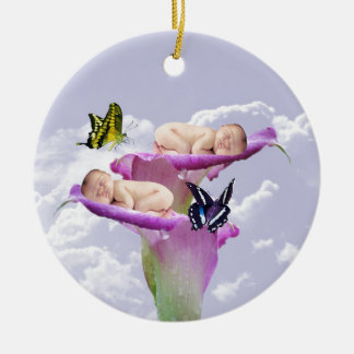 Twice the joy with baby twins shower invitation ceramic ornament